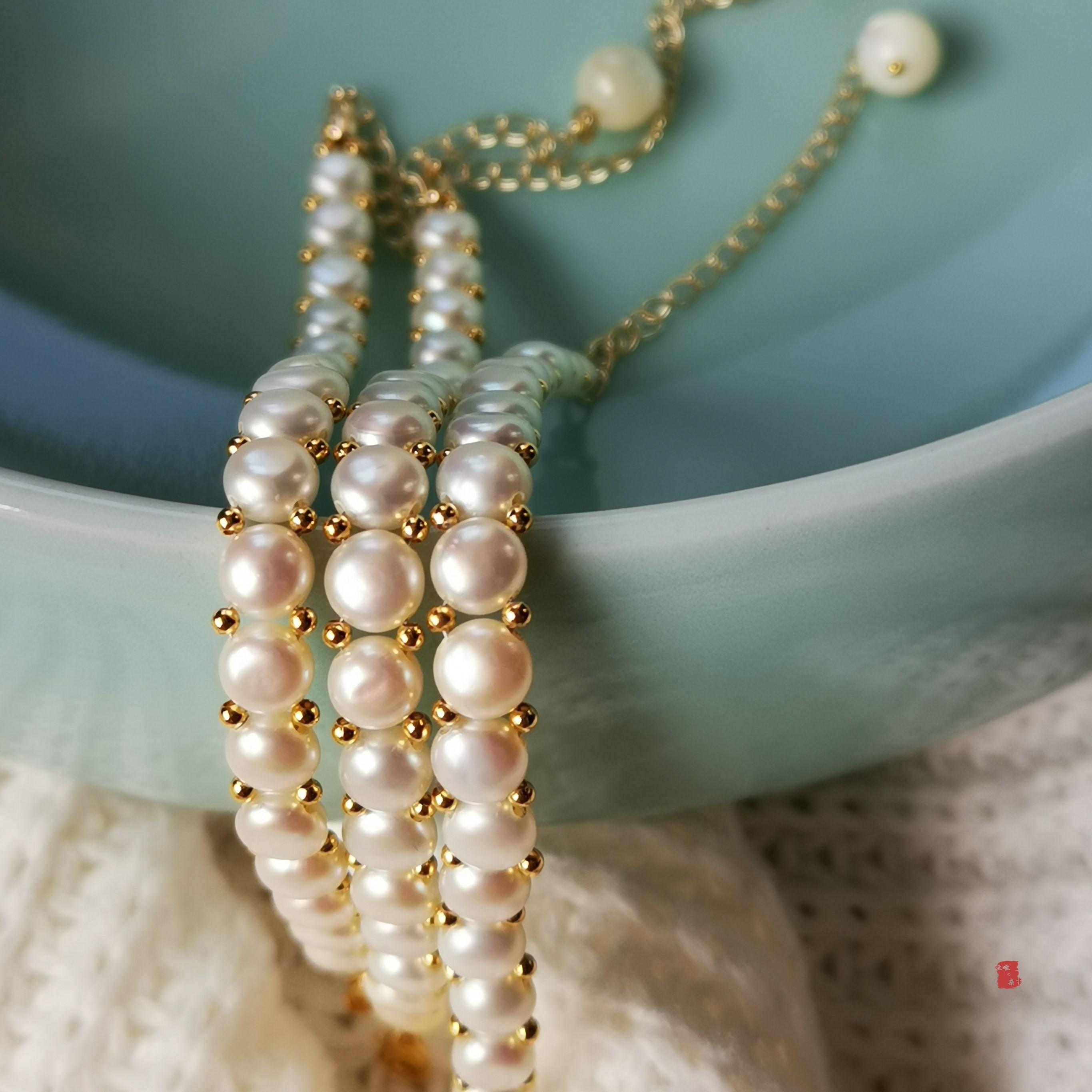 【嗷嗷杂事】天然淡水馒头珍珠14K金手链手圈简约气质女森女风格