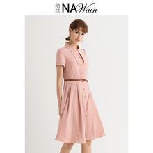 淑女气质显瘦减龄收腰裙子L18X0L093 纳纹格子连衣裙2019夏新款