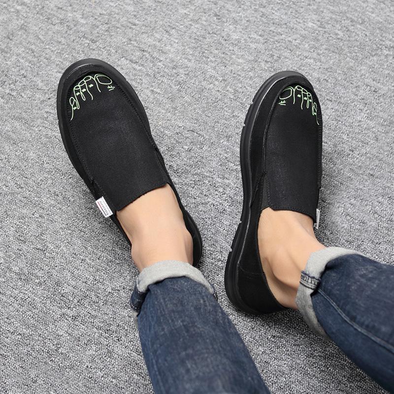 新款老北京布鞋休闲帆布鞋男士一脚蹬懒人布鞋子男潮鞋时尚开车鞋