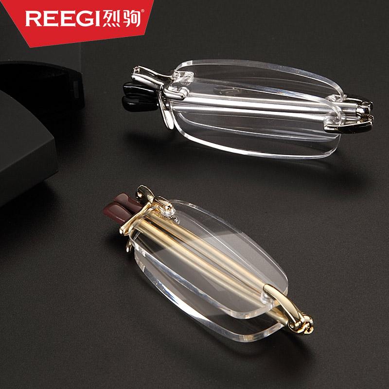 高档品牌折叠老花镜男便携超轻时尚女老光镜优雅无框简约老视眼镜