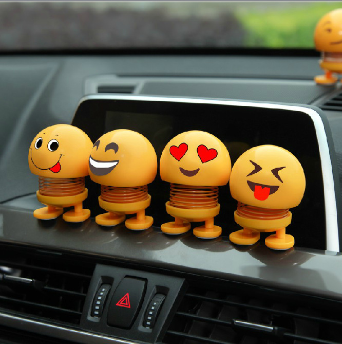 10月24日最新优惠2个装车载个性表情包创意可爱笑脸弹簧公仔摇头摆件汽车弹跳
