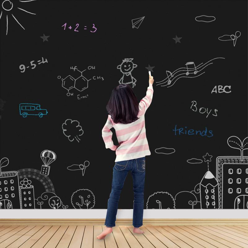 小黑板贴家用儿童涂鸦留言无粉尘可擦写教学自粘可移除墙贴纸墙膜