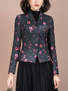 轻薄羽绒服2020年新款女短款修身显瘦时尚印花白鸭绒秋冬季外套