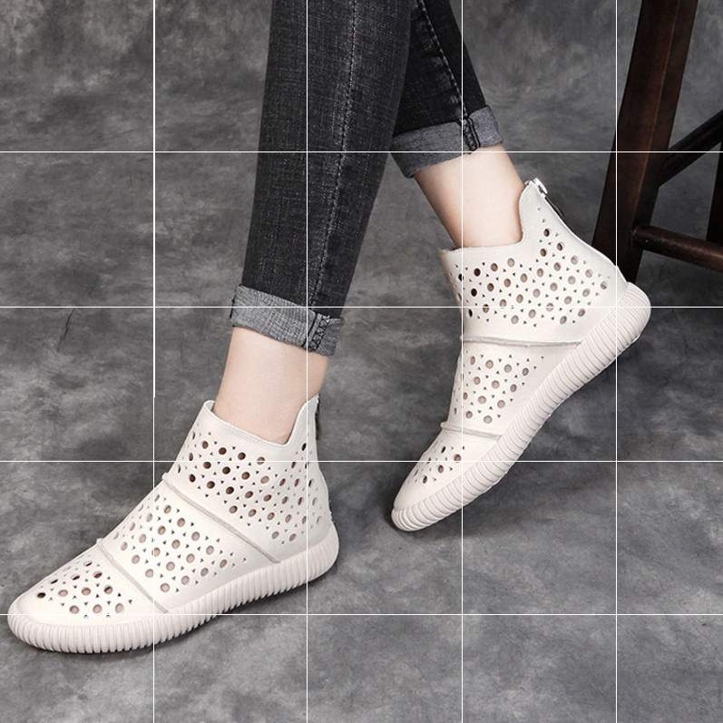 Spring and summer flat bottom cool boots womens high top hole shoes hollow mesh short boots soft sole pure leather casual sandals womens shoes