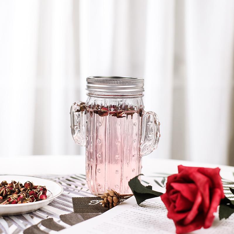 水杯女玻璃杯茶杯玻璃杯带把仙人掌杯子女玻璃杯单层吸-仙人掌茶(国友旗舰店仅售15.9元)
