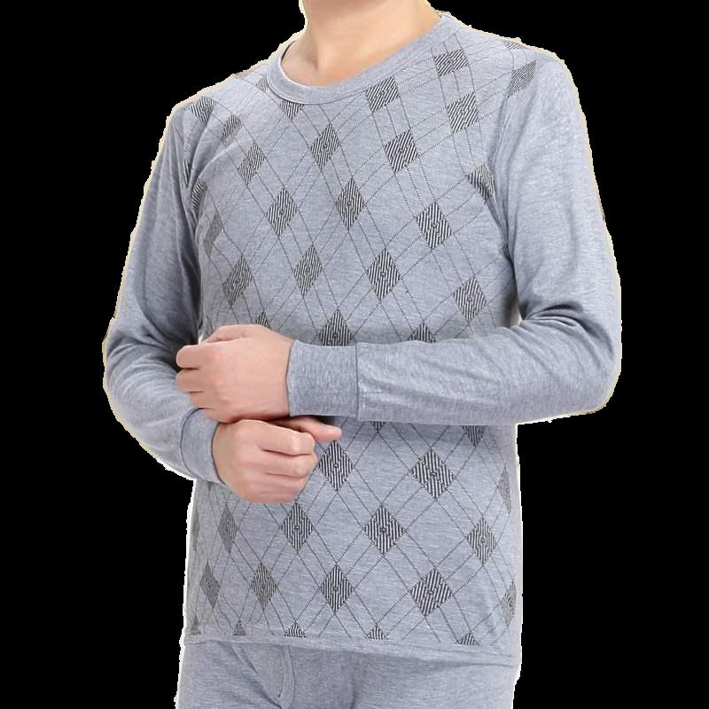 Mens autumn clothes, autumn pants, high and low cotton sweater, thin suit, round neck printing, middle-aged and old peoples autumn and winter underwear