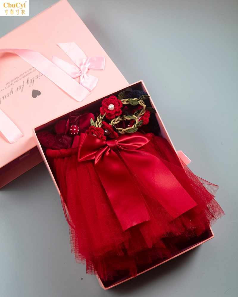 Spring and summer wine red suit gift box hot sale shawl skirt hair with socks children newborn gift jewelry photography
