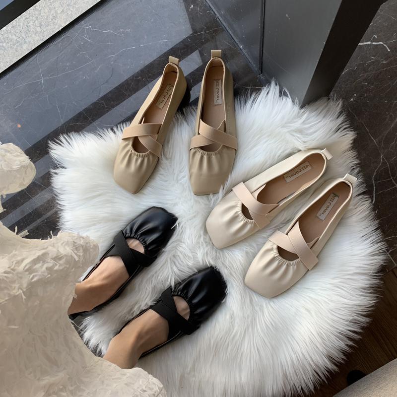 2019秋季新款仙女风芭蕾舞鞋绑带单鞋女软皮平底复古玛丽珍奶奶鞋