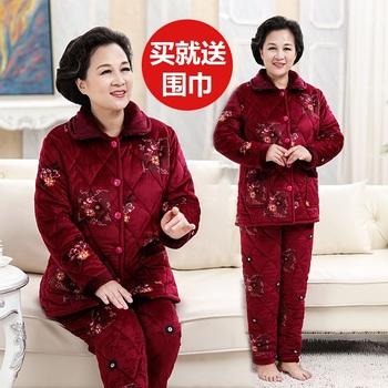 冬季中老年人珊瑚绒中年夹棉睡衣