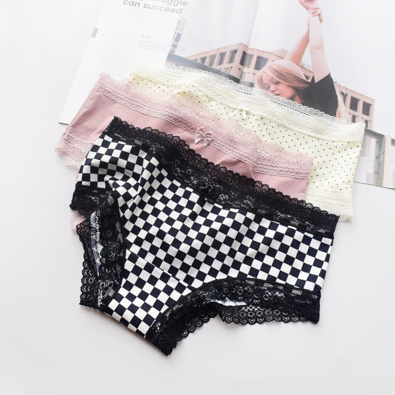 Pink silk smooth milk silk underpants womens polka dot stripe sexy ice silk low waist quick drying girls briefs cotton crotch