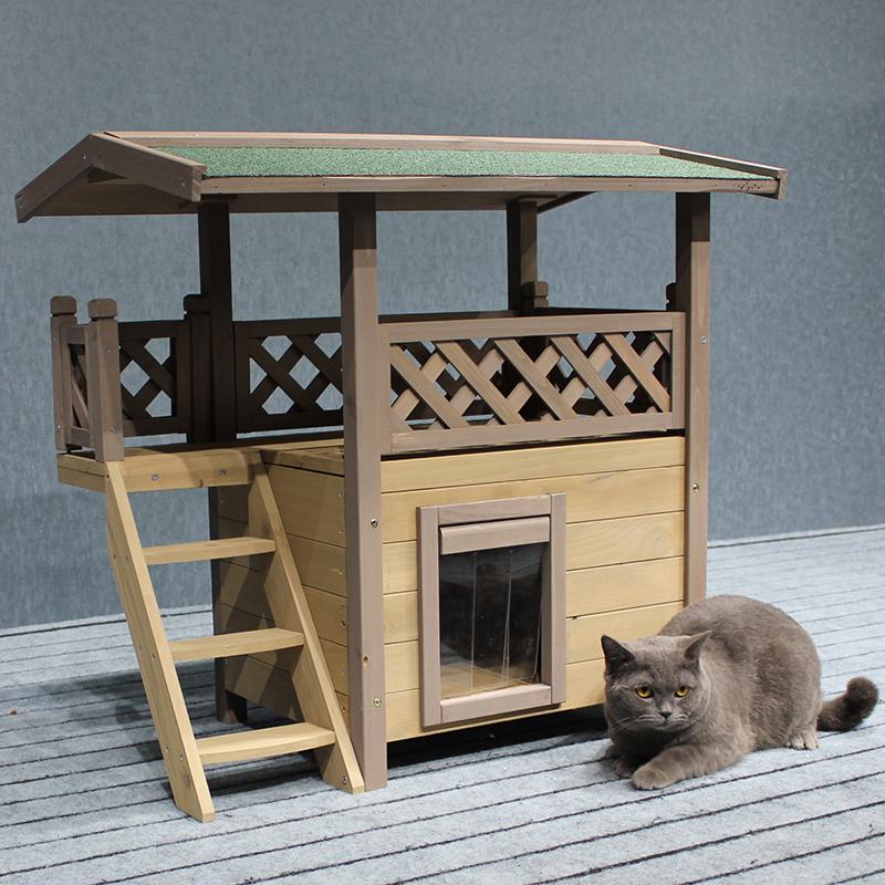 新款实木猫窝木制猫屋兔窝房子宠物窝户外防水保暖双层放阳台包邮(用1元券)