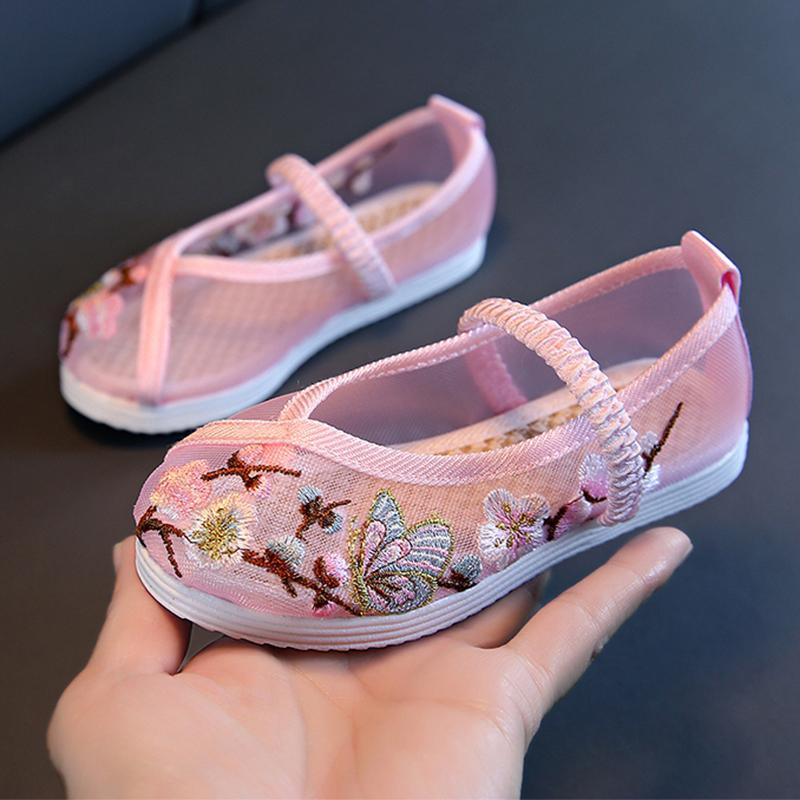 中国风夏季新款宝宝凉鞋女童网鞋民族风老北京汉服布鞋儿童绣花鞋