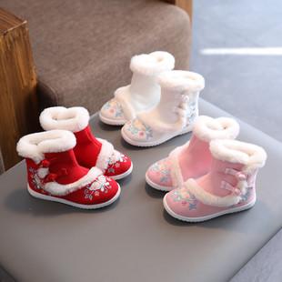 儿童汉服鞋子女童古装棉鞋老北京冬季绣花鞋舞蹈表演出鞋古风棉靴图片