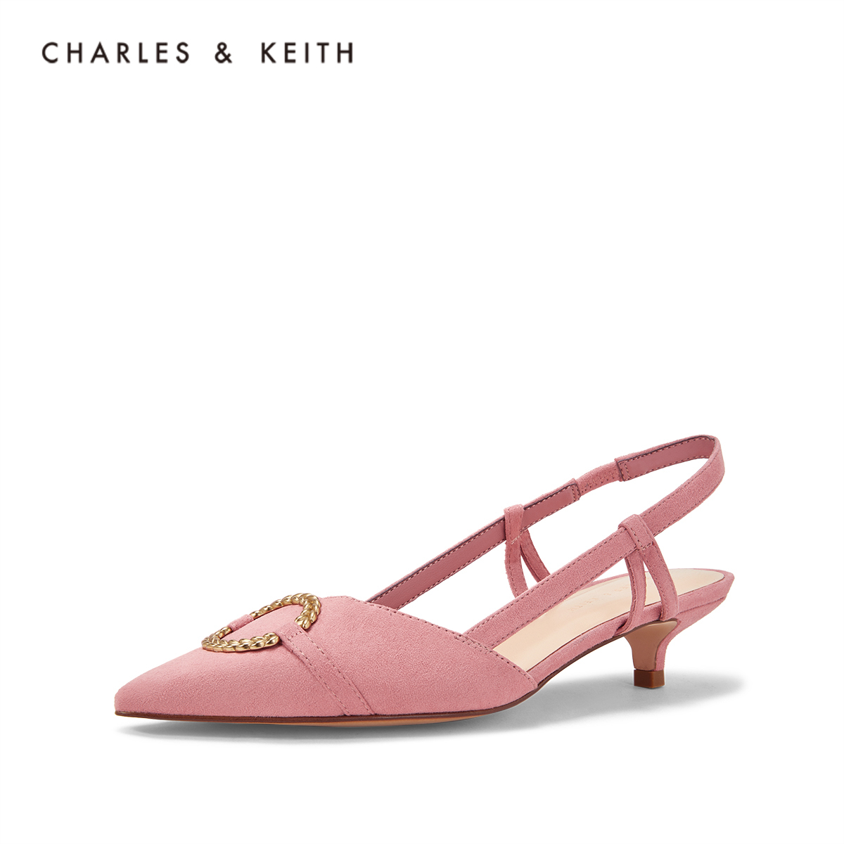 CHARLES & KEITH Sandals CK1-60580130 Ring Decorative Lady's Tippy Cat heel Sandals