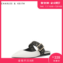 CHARLES & KEITH Women's Sandals CK1-70390243 Metal Rivet Tip Low-heeled Miller Single Shoes