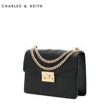 Charles & Keith Dionysus bag ck2-20680639 chain lock single shoulder cross arm black small square bag for women
