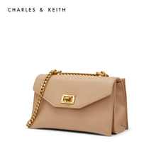 Charles & keith2020 spring new product ck2-80781149 metal buckle chain flip single shoulder bag for women
