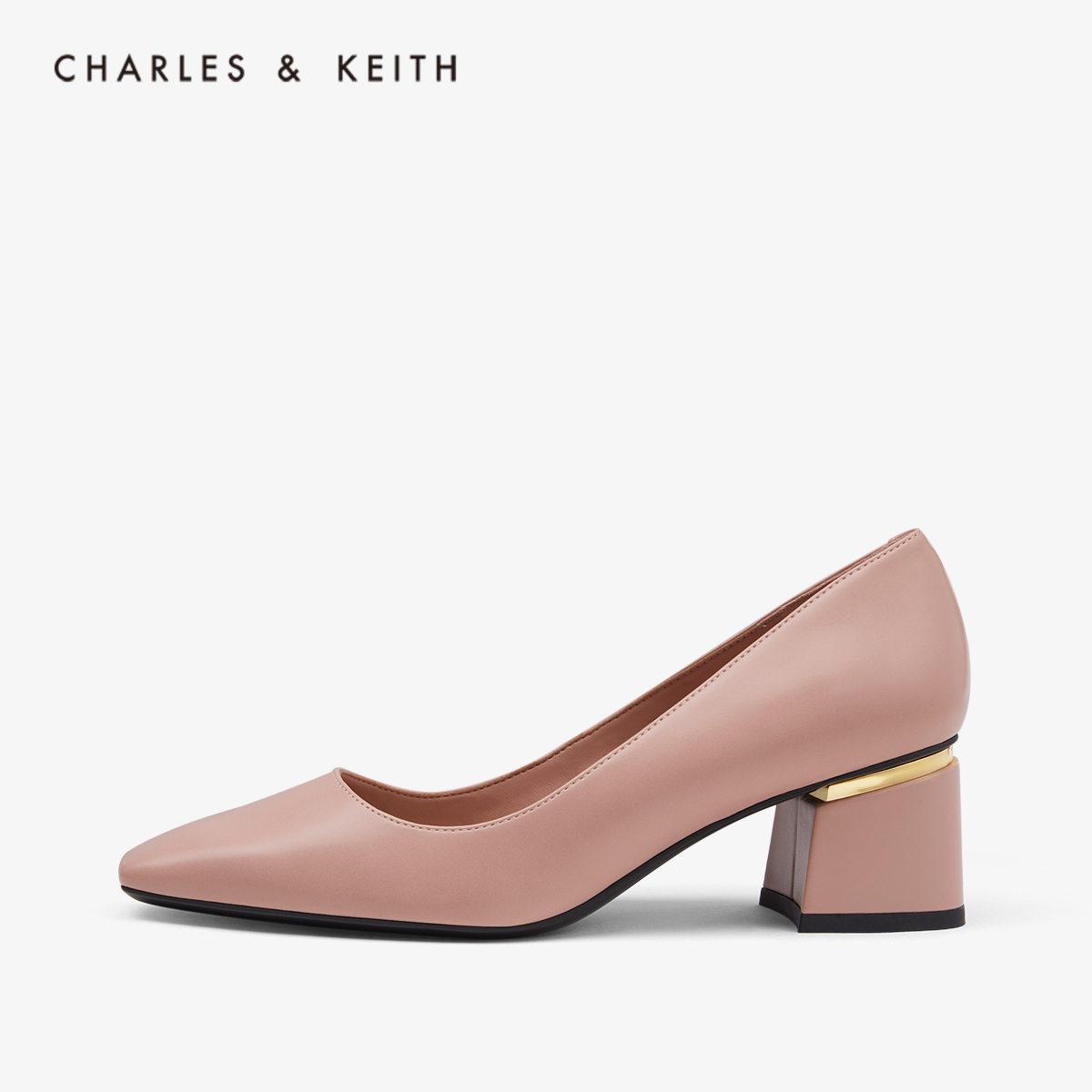 CHARLES&KEITH秋冬女鞋CK1-60280198女士方头高跟鞋粗跟单鞋