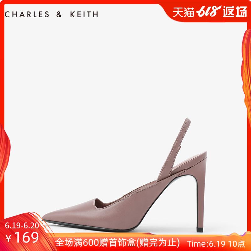 CHARLES&KEITH单鞋CK1-60361130后袢带女士方口尖头高跟鞋,降价幅度39.4%