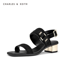 CHARLES & KEITH Sandals CK1-60280181 Metal Button Lady's Square Head Open Toe Sandals