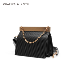 Charles & keith2019 new winter product ck2-20781178 wide shoulder fold carrying single shoulder bag for women