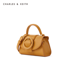 Charles & keith2020 new summer product ck2-50781266 women's round buckle plug-in portable shoulder bag