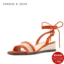 CHARLES & KEITH sandals CK1-80390309-A hemp rope knitting decoration ladies square head strap sandals