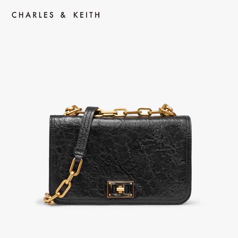 链条翻盖女士单肩小方包80780996CK2冬季新品KEITH2019&CHARLES