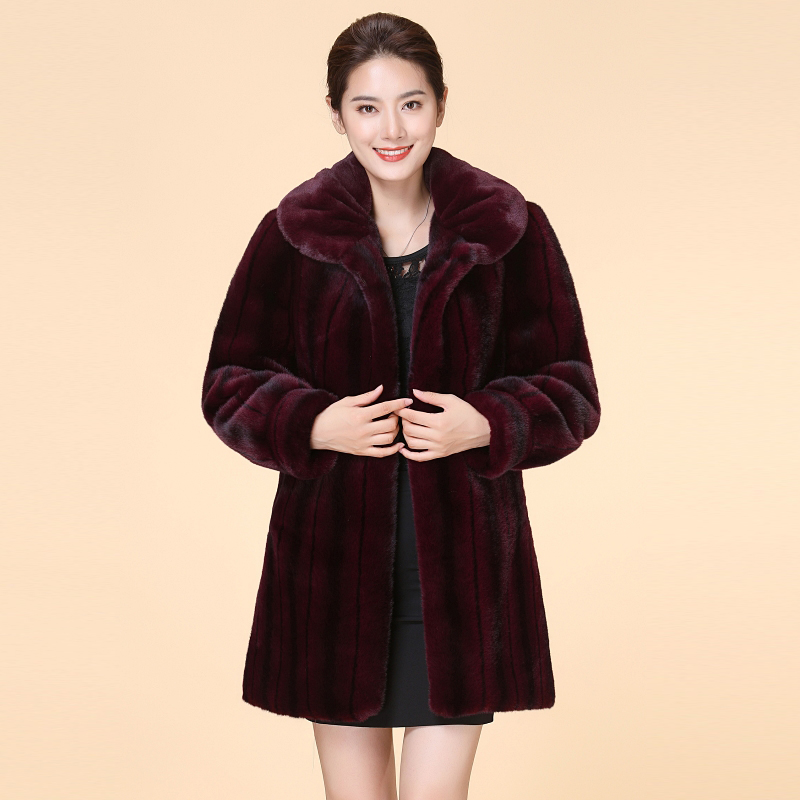 Off season promotion teheining mink coat womens middle and long mink fur grass coat middle and old aged fur mothers dress