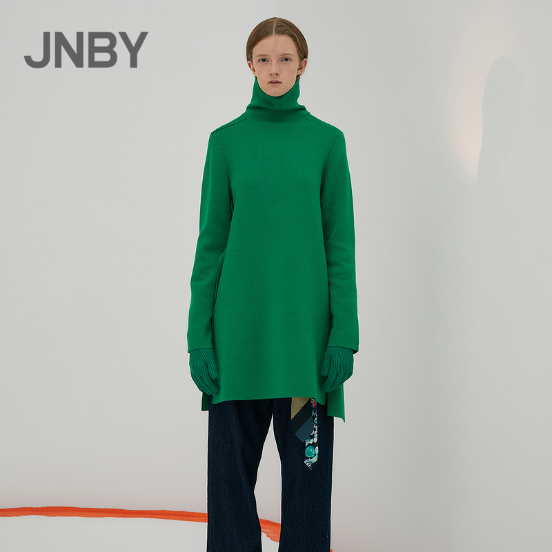 JNBY/JNBY/Jiangnan commoner knitted dress autumn high collar straight mid-length sweater female 5IA840610