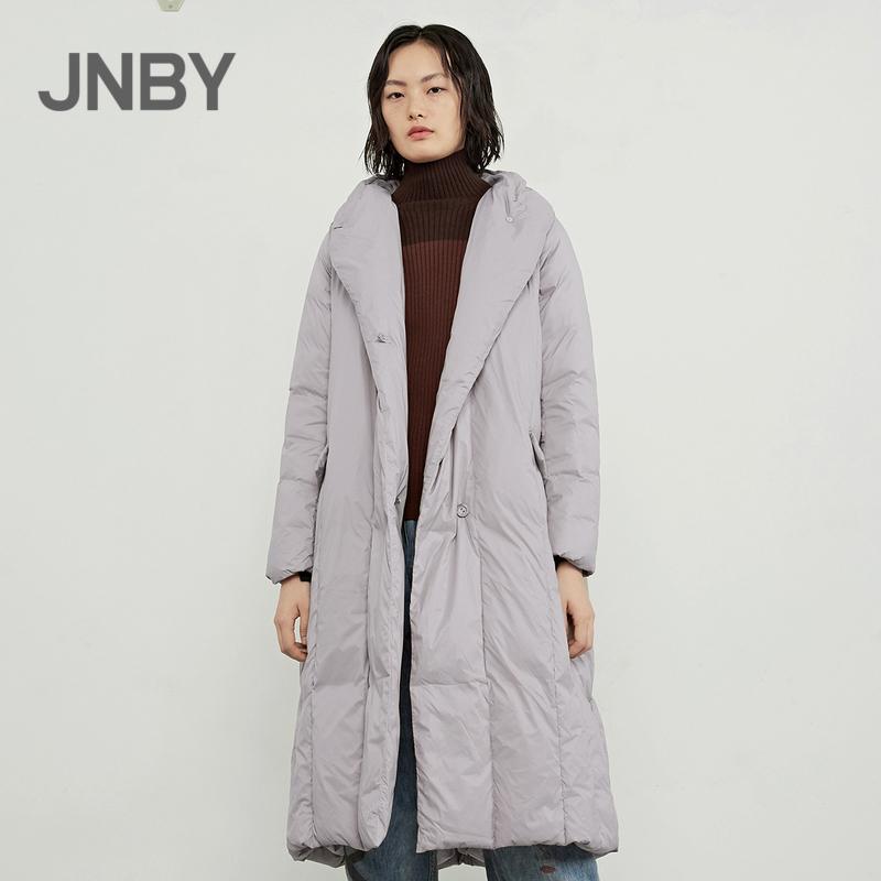 JNBY/江南布衣2018冬新品翻领中长款气质羽绒服外套女5HA700801