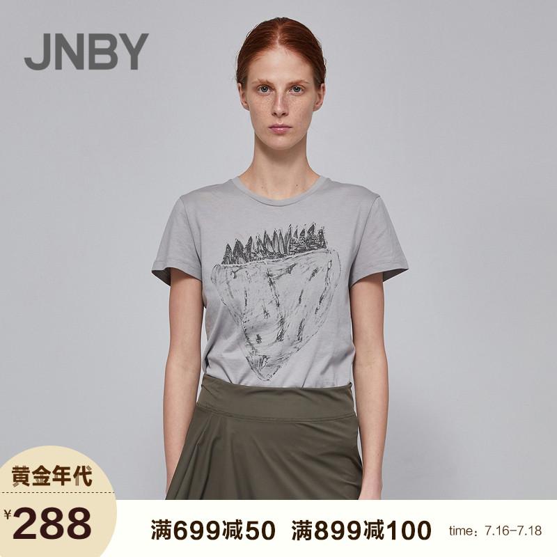 【商场同款】JNBY/江南布衣2018夏新品棉印花短袖T恤女5I3612960