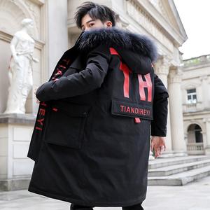 过膝中长款羽绒棉服男2019新款潮流男装加厚保暖冬装上衣男士外套