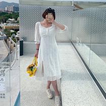 马西西微胖大码法式初恋甜美连衣裙女长款夏季胖mm高腰显瘦开叉裙
