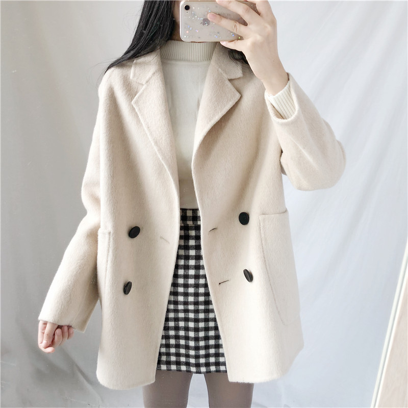 Autumn and winter 2019 new double-sided hand sewn wool cashmere coat Korean double breasted wool coat short womens anti season