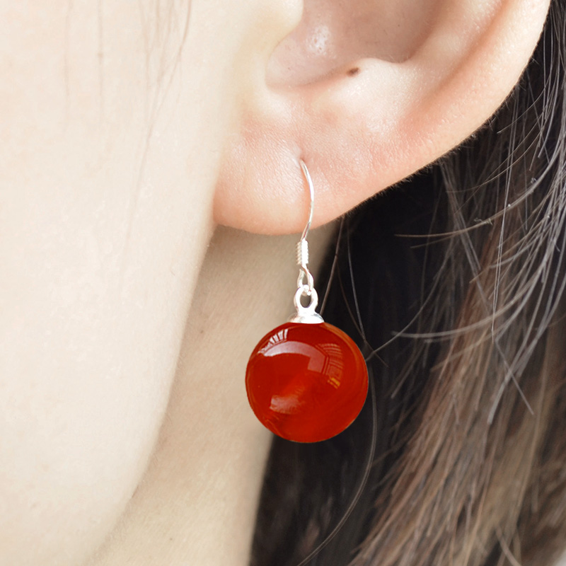 990 Pure Silver Natural Agate Earrings womens temperament net red chalcedony advanced sense Earrings