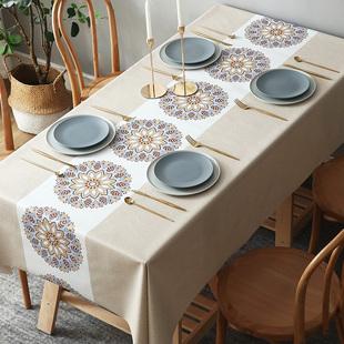 桌旗桌布防水防油免洗餐桌布长方形茶几布ins网红防烫桌布PVC北欧品牌