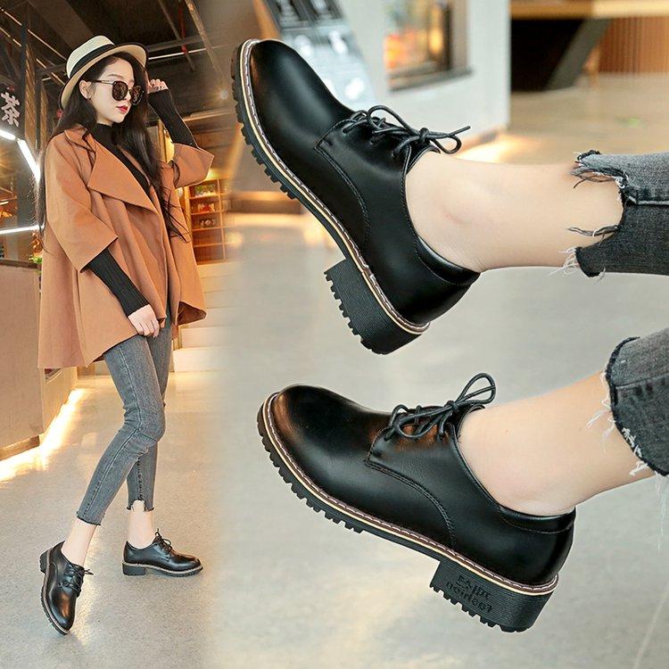 小皮鞋女英伦学院风春季韩版哑光黑色复古森系学生百搭ins女鞋