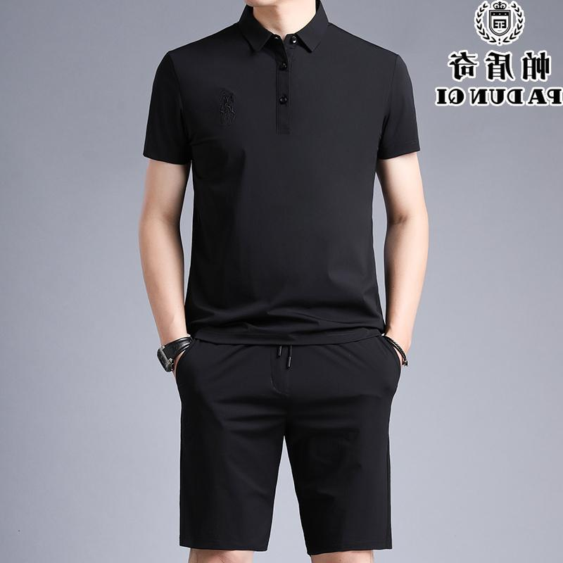 Top grade brand ice silk sports suit mens Lapel summer trend middle age short sleeve casual suit wide