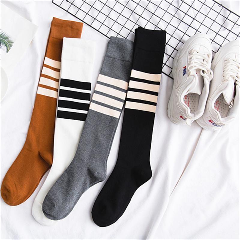 热销766件限时抢购精工纯棉女士高筒袜质感不对称四杠及膝袜运动上班小腿袜子学院风