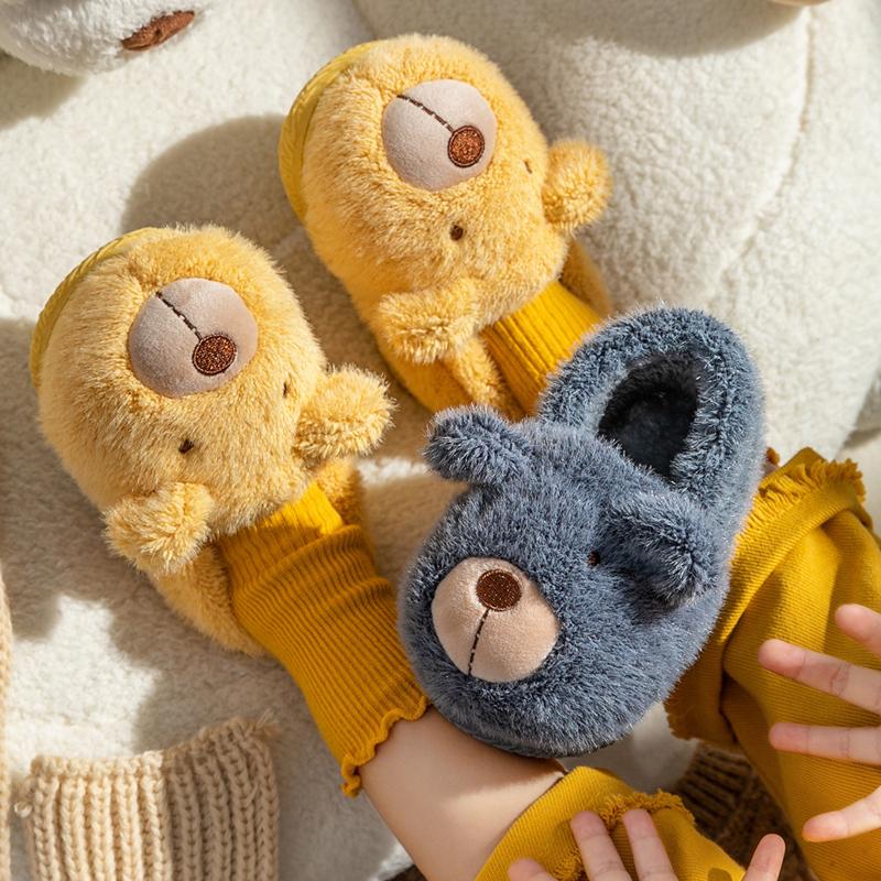 宝宝棉鞋秋冬男女童室内居家防滑卡通小熊毛绒保暖包跟儿童棉拖鞋淘宝优惠券