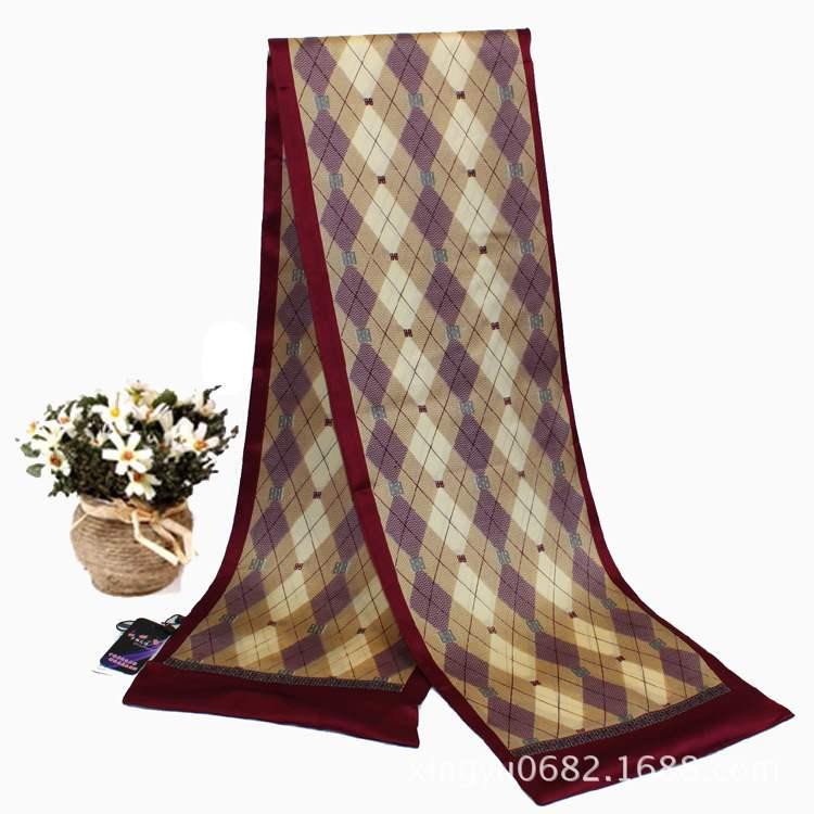 日本购零售100%桑蚕丝围巾杭州丝巾高端商务纯真丝男士双层丝巾