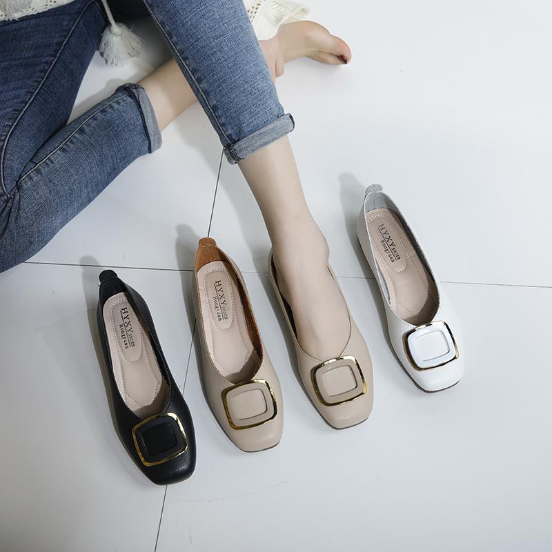 2020新款软底女春夏皮鞋单鞋舒适百搭平底防滑方扣浅口豆豆鞋女鞋