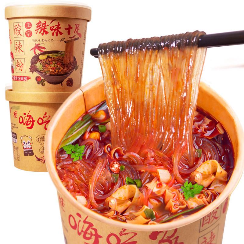 网红桶装整箱6桶嗨吃家丝条酸辣粉券后18.38元