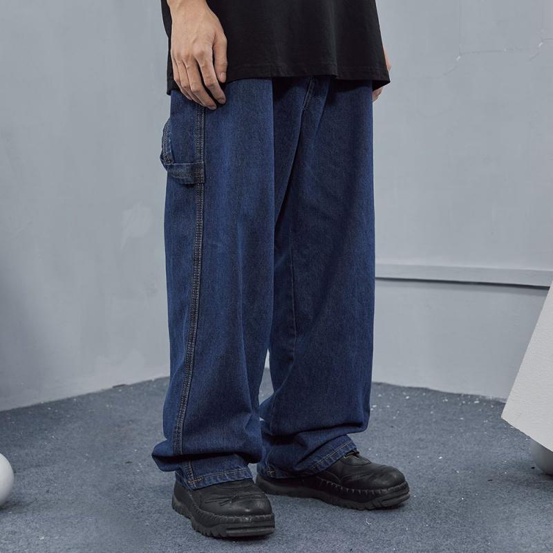 Vintage boyfriend wind tannin solid color daddy pants American street friends loose straight jeans wide leg pants