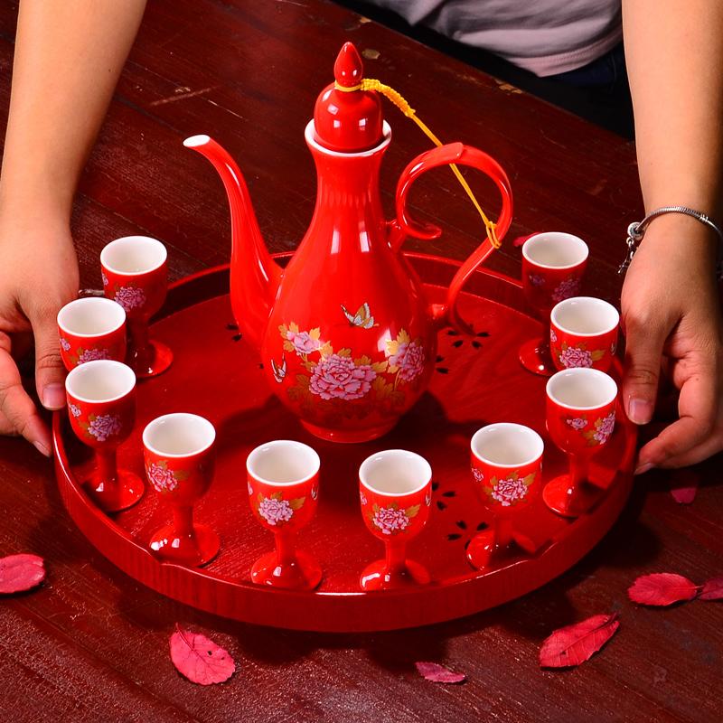 瓷昱轩中国红色婚庆酒具结婚敬酒杯 陶瓷酒壶白酒结婚交杯酒杯 Изображение 1