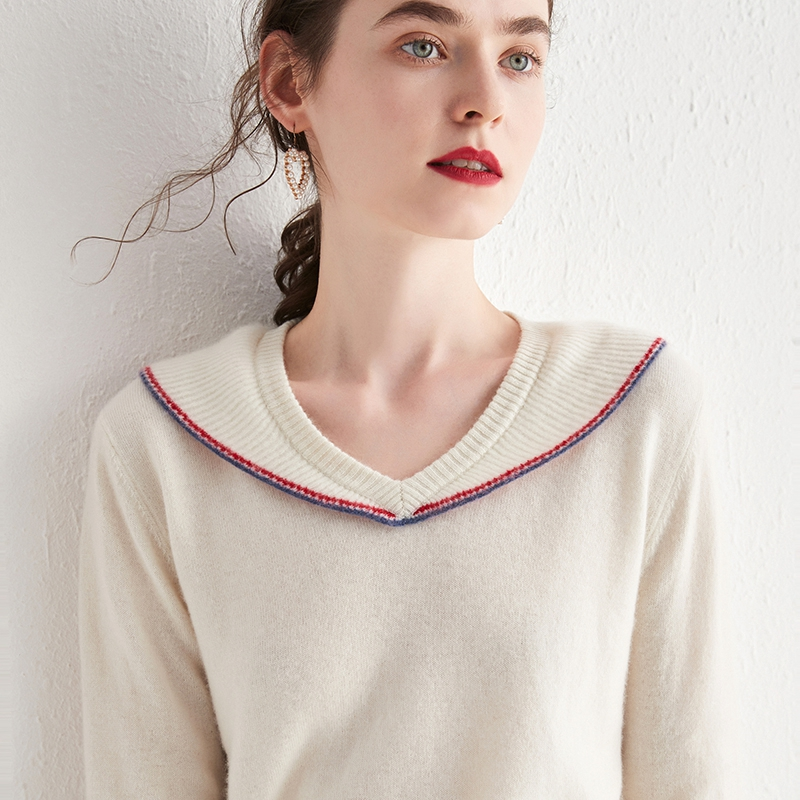 Autumn and winter new V-neck Ruffle Pullover pure wool simple cashmere sweater long sleeve warm knitting bottom coat