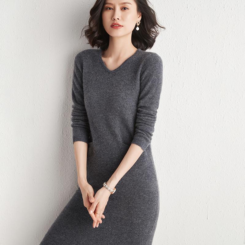 Woolen sweater womens middle long 2020 new autumn and winter Pullover Sweater cashmere sweater long knitwear woolen dress