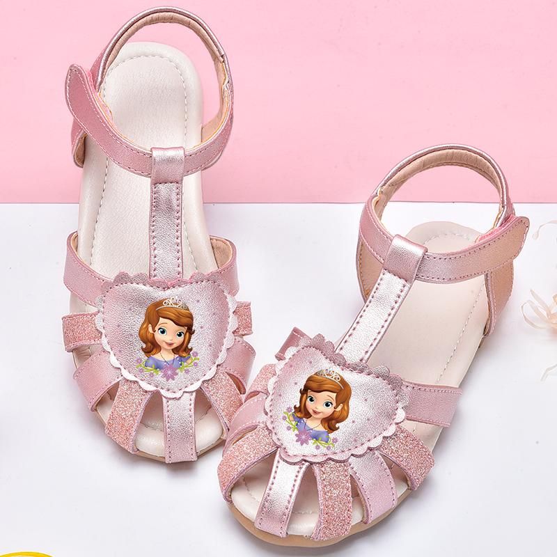 女童凉鞋2019新款春夏童鞋皮凉鞋卡通儿童鞋子软底包头真皮公主鞋包邮