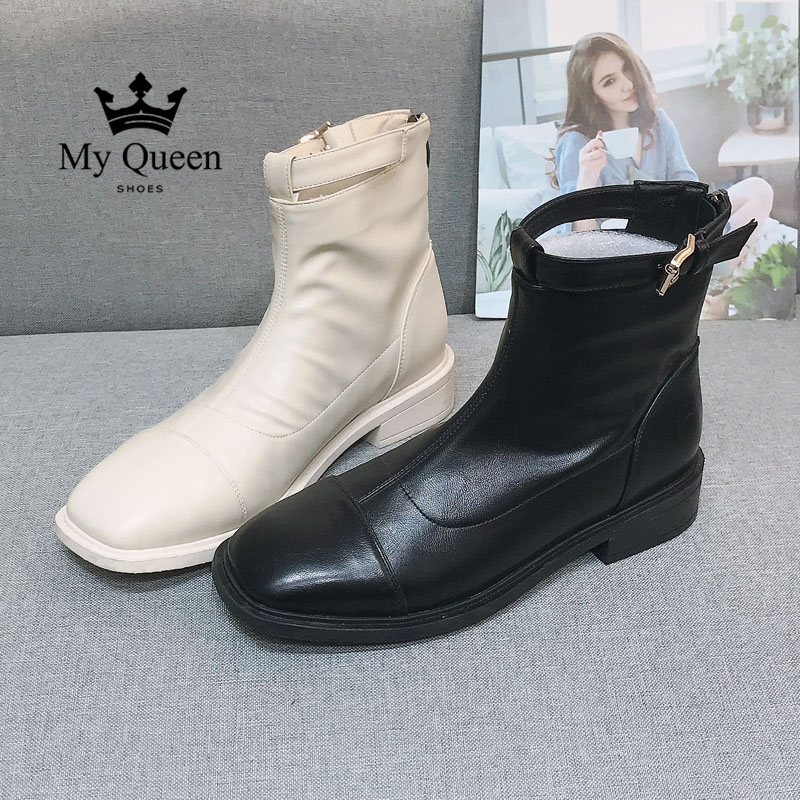 Spring 2020 new flat top high top Martin boots British style belt buckle womens boots net red casual versatile single shoes women